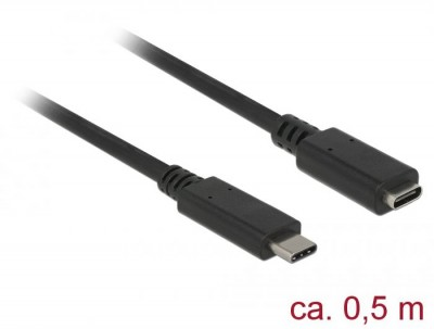DeLock SuperSpeed USB3.1 Gen1 USB Type-C male > female 3 A cable 0,5m Black