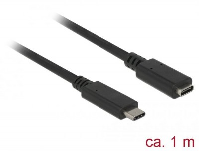 DeLock SuperSpeed USB3.1 Gen1 USB Type-C male > female 3 A cable 1m Black