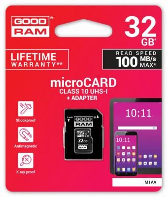 Good Ram 32GB microSDHC Class 10 UHS-I + adapterrel