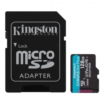 Kingston 128GB microSDXC Canvas Go! Plus 170R A2 U3 V30 Card + adapterrel