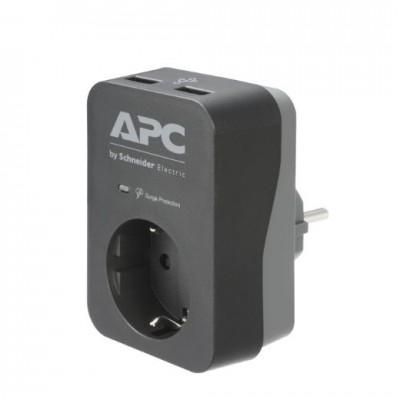 APC Essential SurgeArrest 1 Outlet 2 USB Ports Black