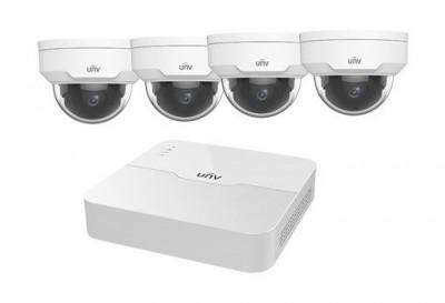 Uniview UNV 4 csatornás kamerarendszer (1 db NVR és 4 db 2MP mini IR dómkamera a csomagban)