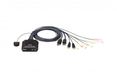 ATEN CS22DP 2-Port USB DisplayPort Cable KVM Switch with Remote Port Selector