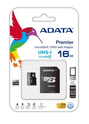A-Data 16GB microSDHC Class 10 UHS-I U1 + adapterrel